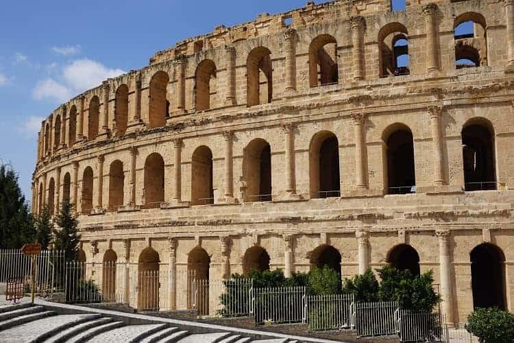 The ancient roman amphitheater in El Jem.