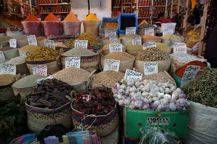You get groceries & spices at the local stores in Tunisia.