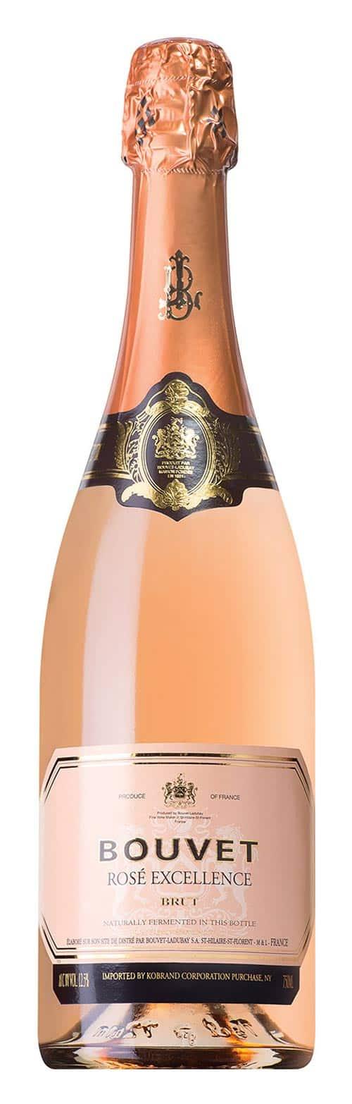 The Bouvet Brut Rosé bottle.