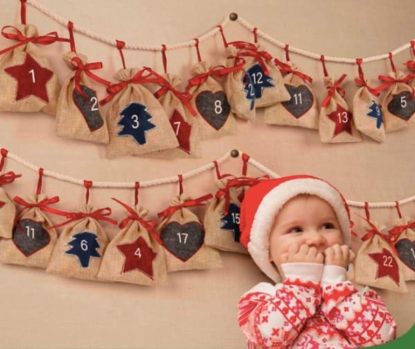 D-FantiX Hanging Burlap Bag Advent Calendar