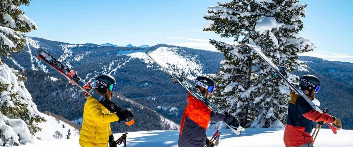 Skiers on the mountains at a resort in Colorado.