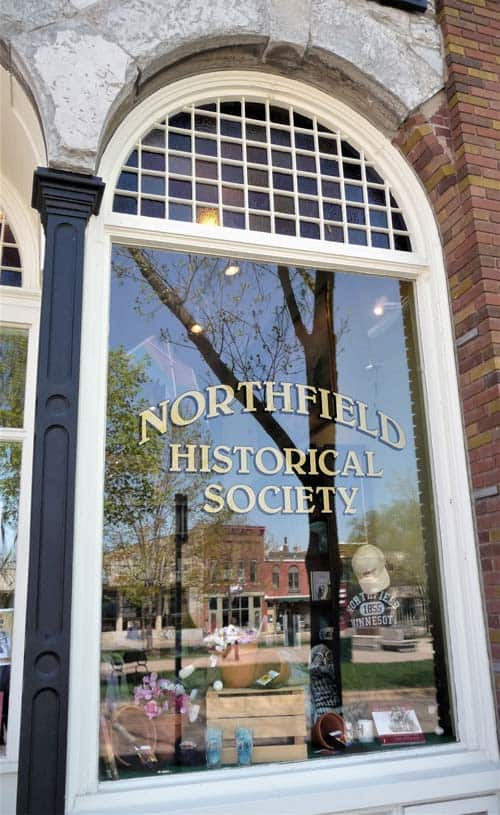 Outside window of the Northfield Historical Society.