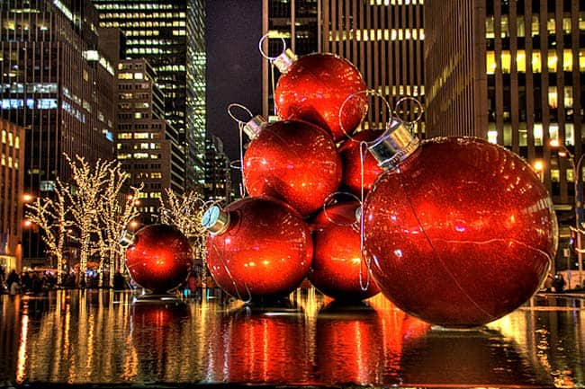 The iconic giant ornaments in New York City, NY