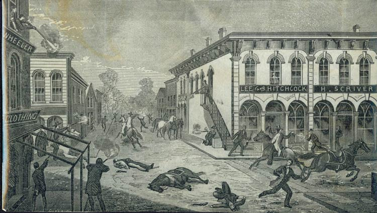 Old illustration of the shoot out.