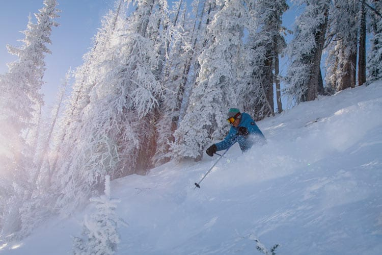 Dave Chambers skiing the trees at Wolf Creek, the first ski area in the US to open for the 20/21 season