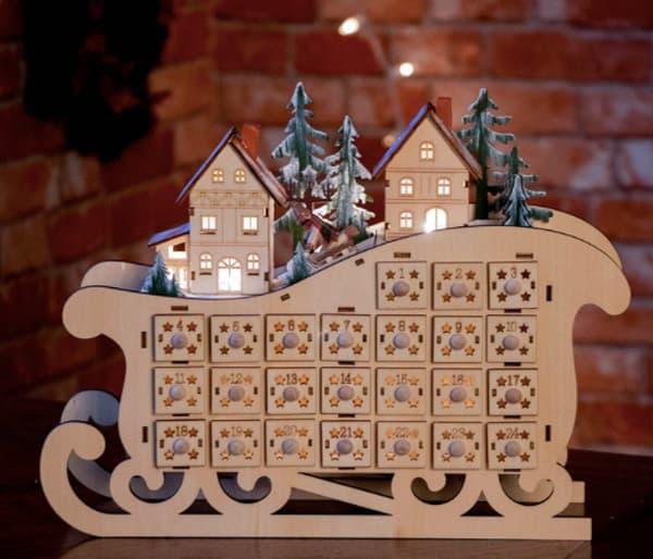 Clever Creations Light-up Wooden Sleigh Calendar