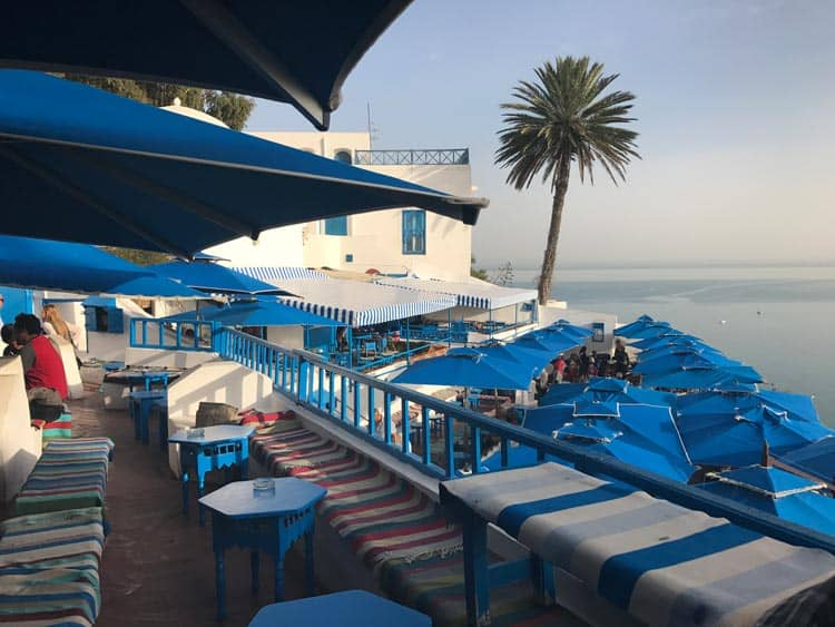 A popular restaurant on the water in Tunisia.