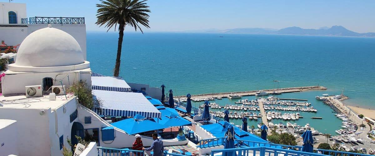 View of Tunisia on the coast of the Mediterranean Sea.