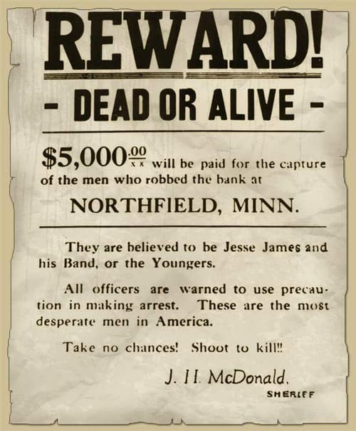 Wanted poster for Jesse James.