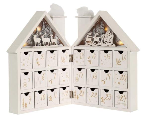Pioneer-Effort White Wooden House Advent Calendar