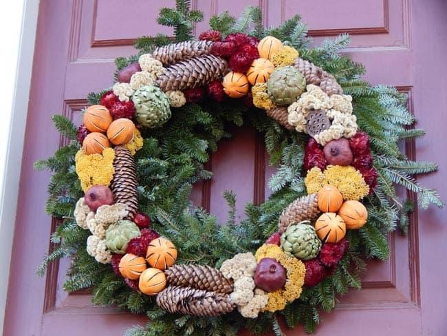 Colonial Holiday wreath in Williamsburg, Virginia