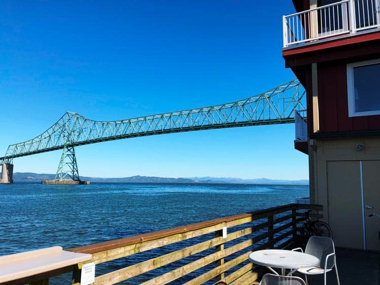 View of Astoria-Megler Bridge from hotel. Photo by Mari S. Gold