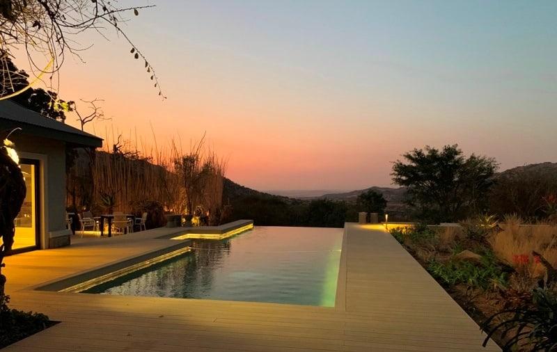 Babananago Valley Lodge pool, sundown. Photo supplied.