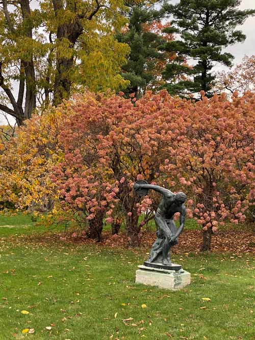 Sculpture on fall grounds at Blantyre. Photo by Blantyre