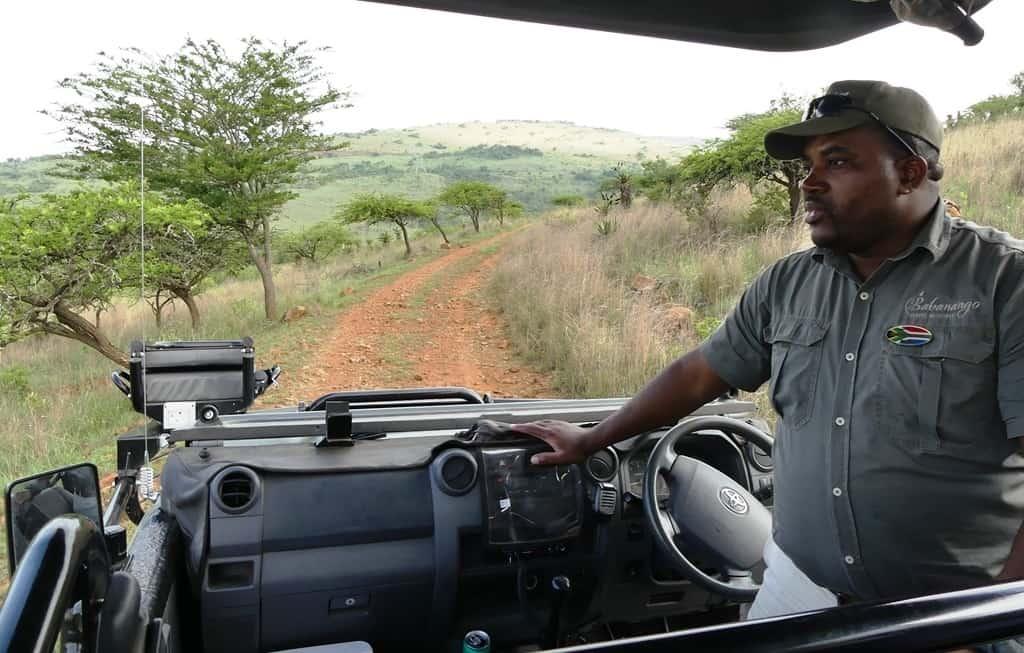 "Babanango Game Reserve guide Xolani Mhlongo in his ""office"". Photo courtesy of Adrian Rorvik"