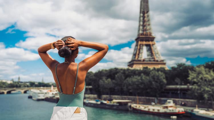 Enjoying the view of the Eiffel Tower in Paris, France