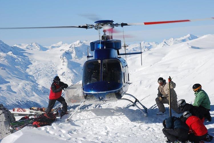 Group of people heli-skiing.