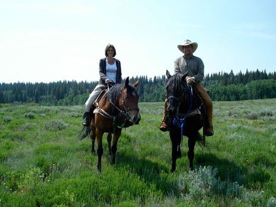 Riding horses at Latigo Ranch.
