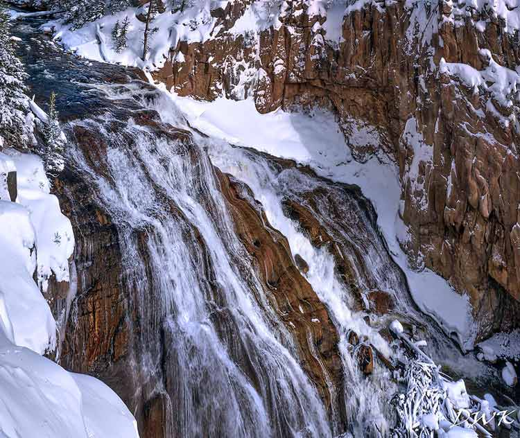 Stunning partially frozen waterfalls in Wyoming