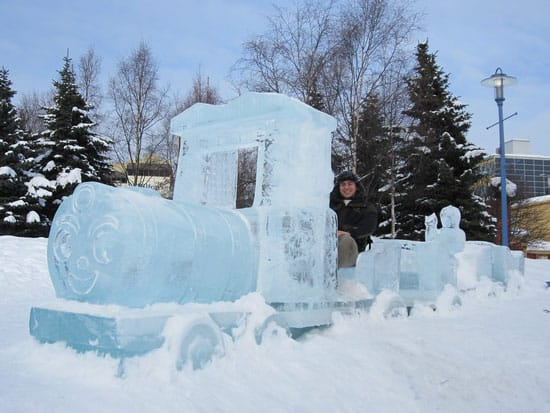 Smiling train ice sculpture in Anchorage.