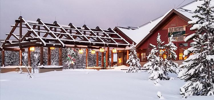 The Old Faithful Inn during winter
