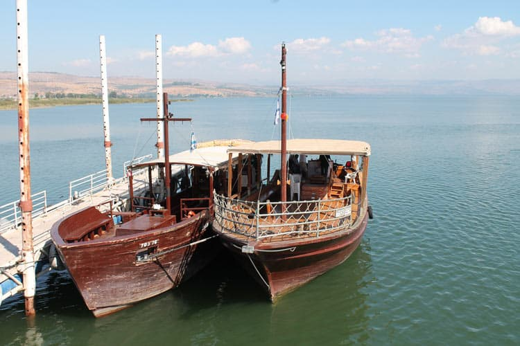 Boats for rent on Sea of Galilee