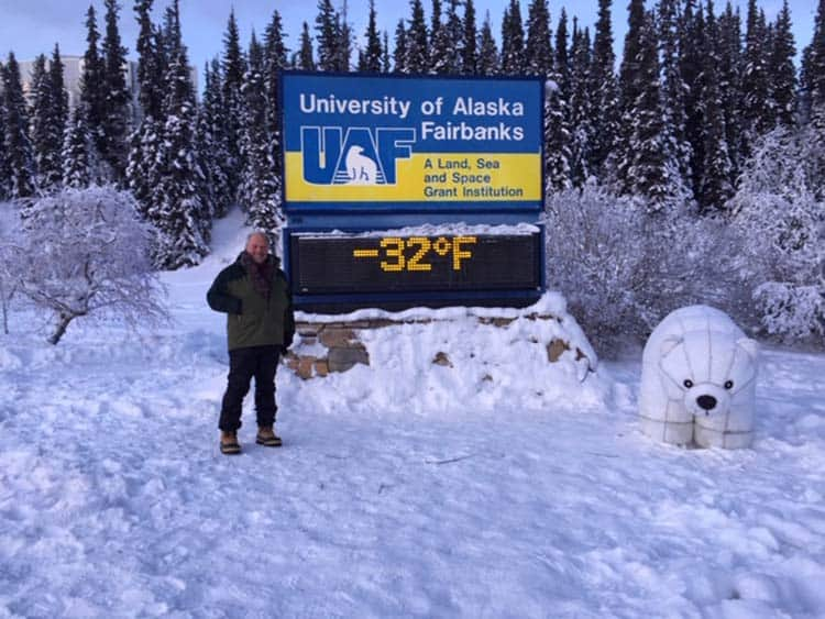 The University of Alaska Fairbanks outdoor temperature sign is a very, very popular midwinter photo op.