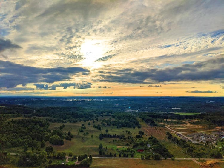 Afternoon sun and clouds from a hot air balloon in Traverse City, Michigan.