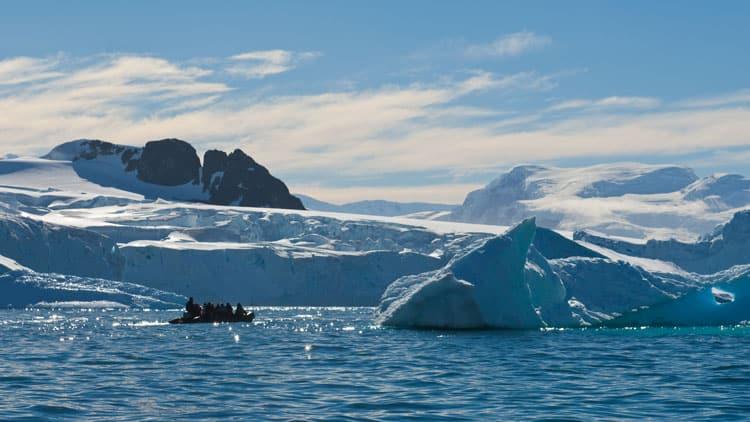 Zodiac in ice in Antartica.