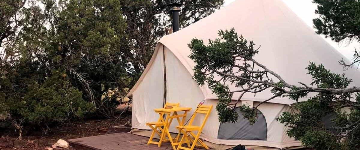 Yurt between trees