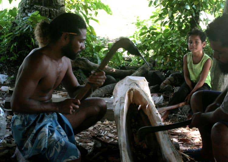 Carving the canoe in Yap.