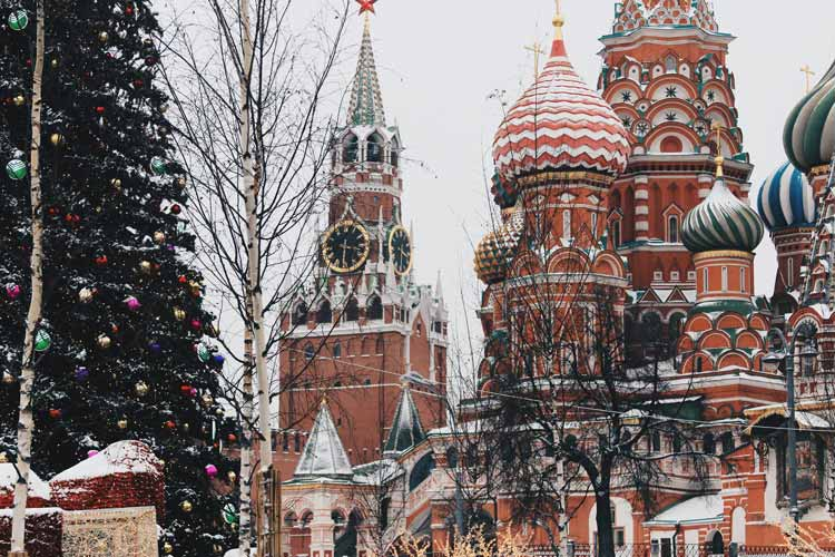 St. Basil's Cathedral decorated for the winter holidays