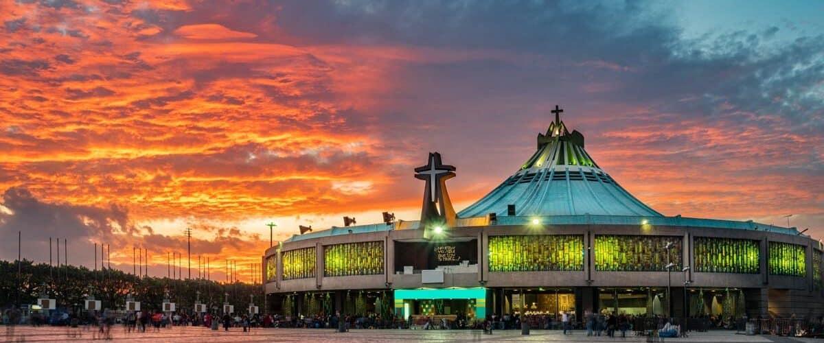 A building under a fiery sunset