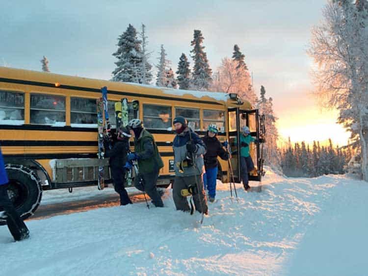Skiing at Moose Mountain near Fairbanks, Alaska