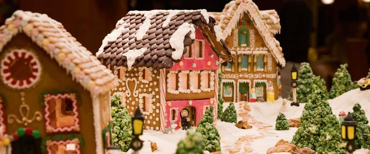 The gingerbread house displays in Pebble Beach Resort.