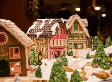 The gingerbread house displays in Pebble Beach Resort.