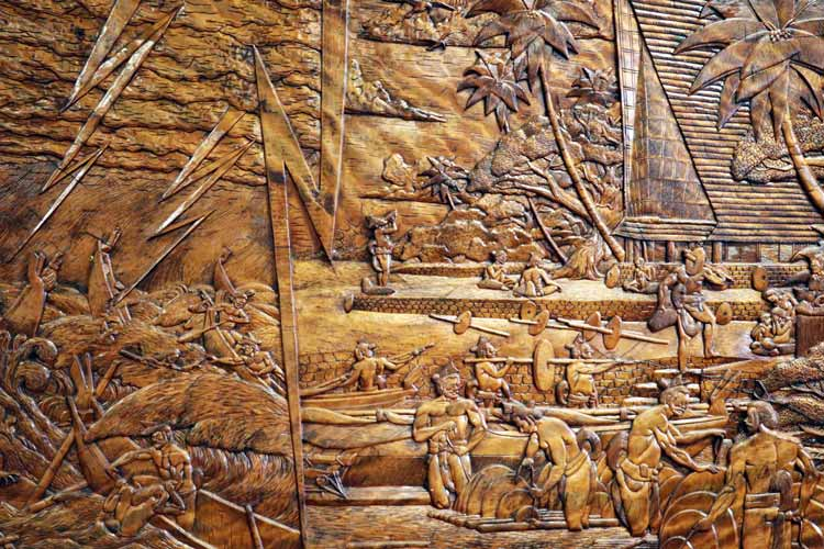 Storyboard carved by Master Carver John Paul.