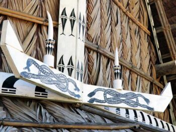 Traditional Yap house wood carving design.