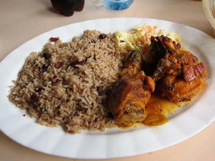 The specialty in Belize is stewed chicken, beans and rice.