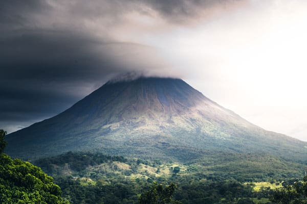 Smoke billowing over the Arenal Volcano in Costa Rica