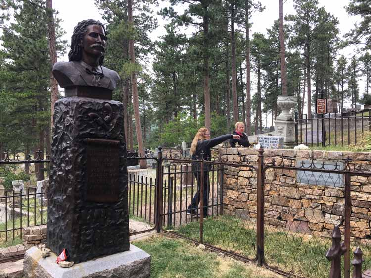 Wild Bill's grave in Deadwood. The small marker for Calamity Jane is to the right