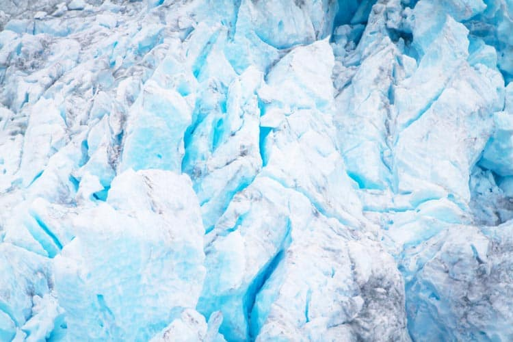 Cracks along the glacier ice
