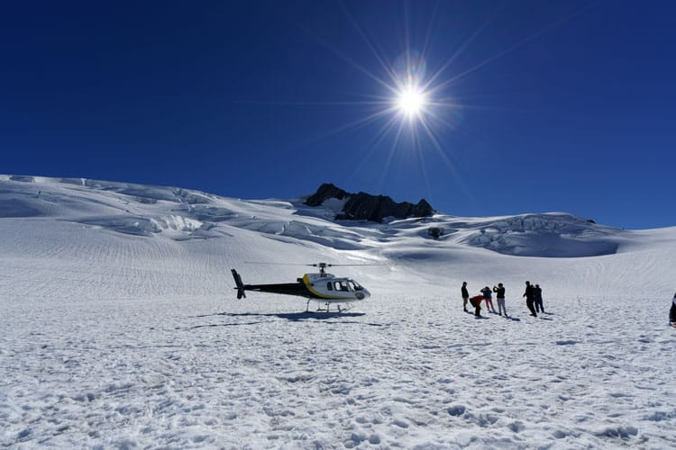 Helicopter let with hikers on Fox Glacier