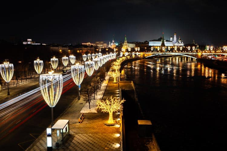 Walking the festive streets of Russia late at night