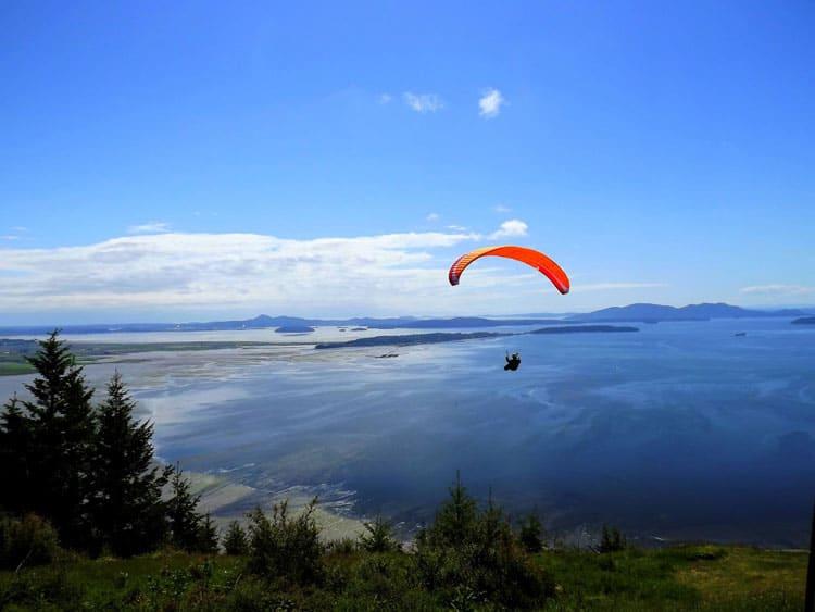 Paragliding over San Juan islands