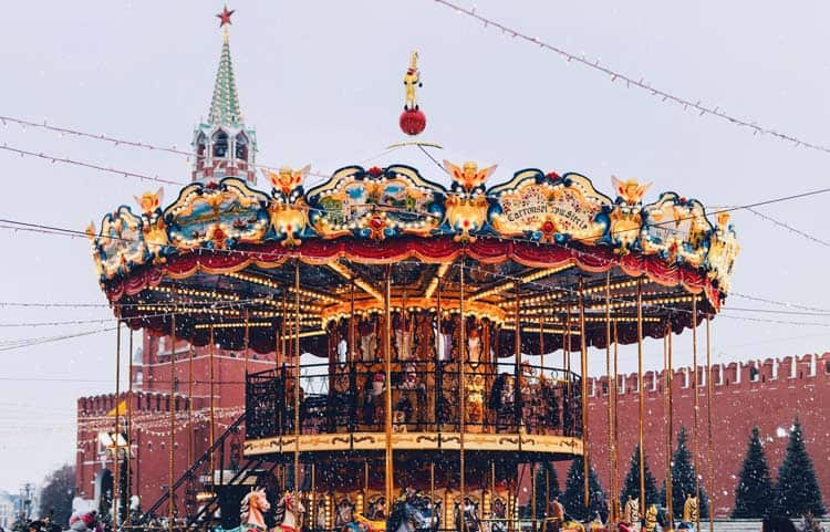 The winter carousel in Moscow, Russia