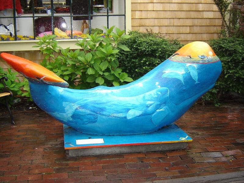 Whale art statues in Nantucket town