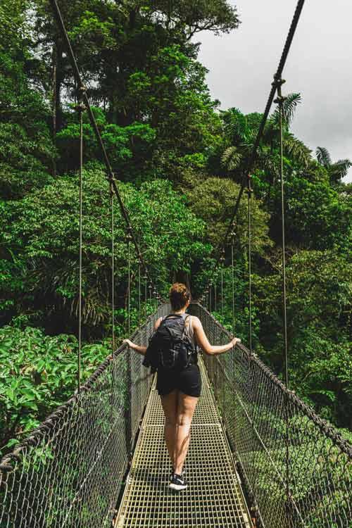 Hanging Bridges Park in Costa Rica international travel during COVID-19