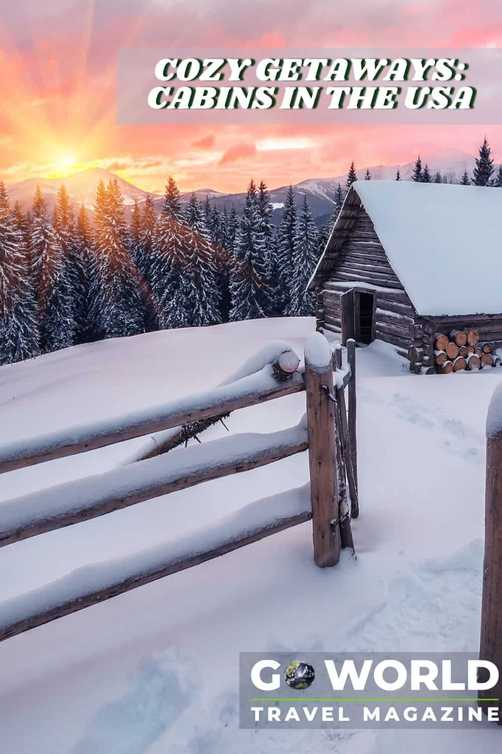 A log cabin and fence among a snowy forest backdrop during sunrise