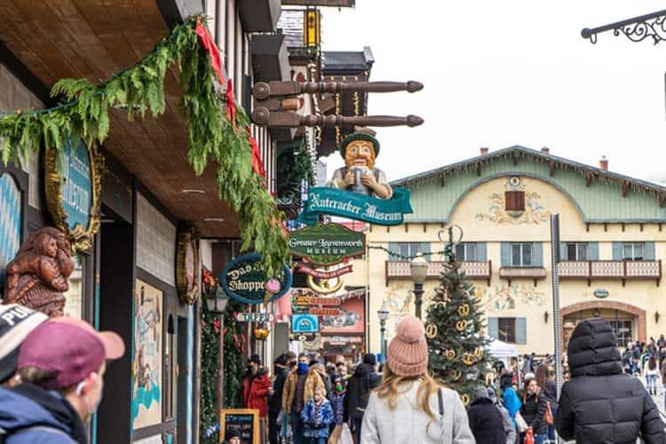 People meander through a Bavarian inspired village in Leavenworth, Washington.